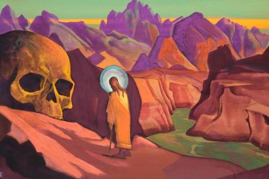 Картина «Исса и голова великанова». Художник: Николай Рерих
