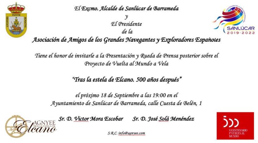 Invitación a Presentación y Rueda de Prensa el 20 de septiembre en Sanlúcar
