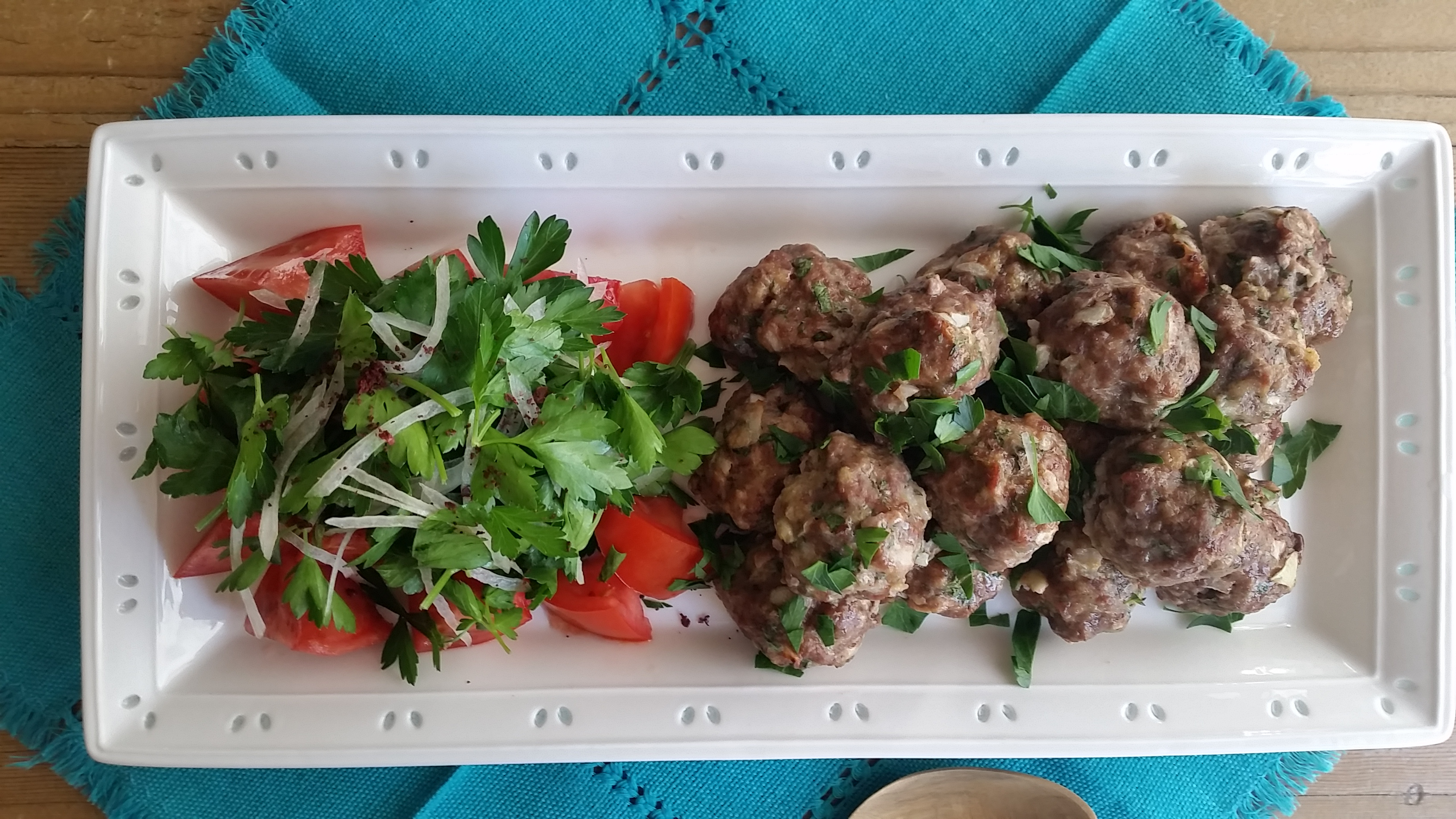 Mom's Meatball Recipe with Parsley and Onion Salad
