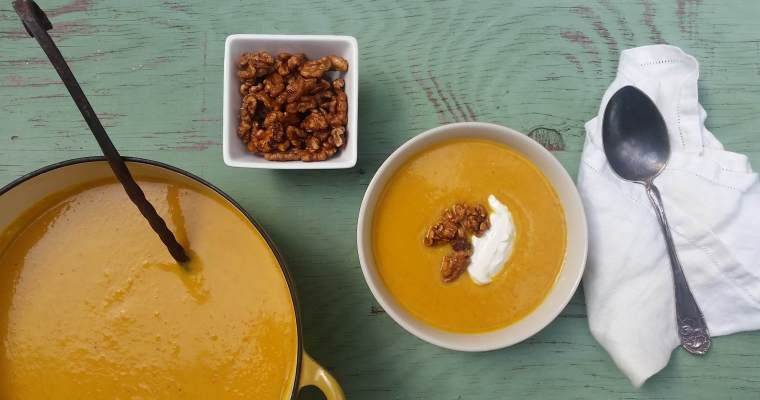 Carrot-Curry-Apple Soup Recipe with Baked Maple Walnuts