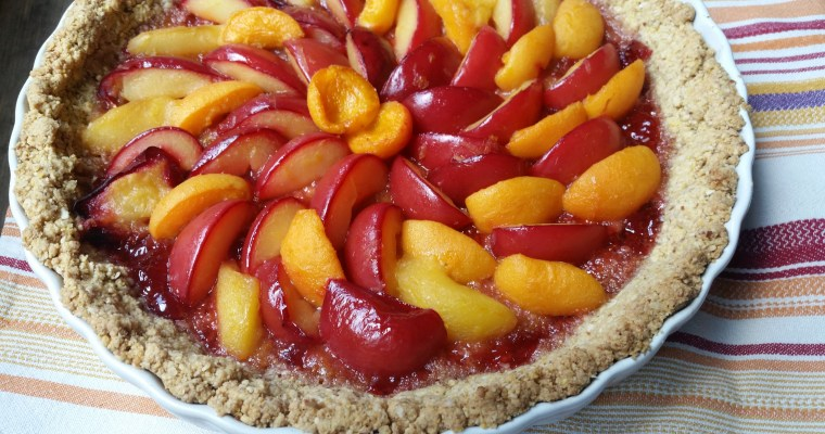 Plum and Apricot Tart in an Almond Crust Recipe
