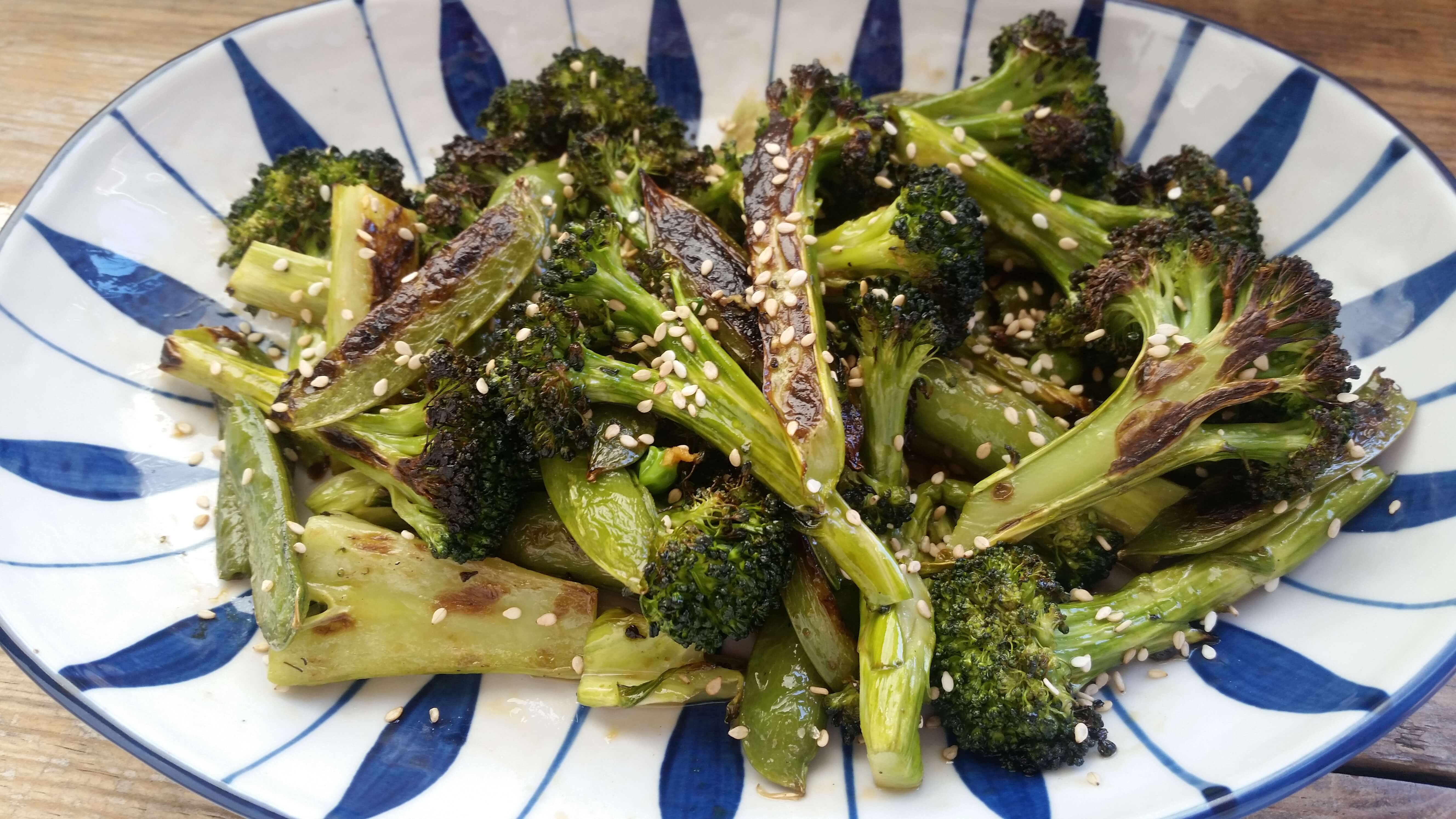Roasted Broccoli and Snap Pea Recipe with Toasted Sesame Dressing