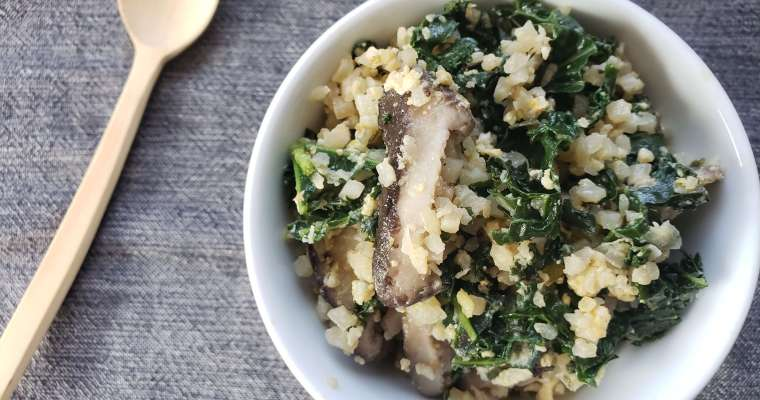 Cauliflower Fried Rice Recipe with Kale and Shiitake Mushrooms