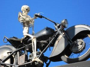 Skeleton on Bike