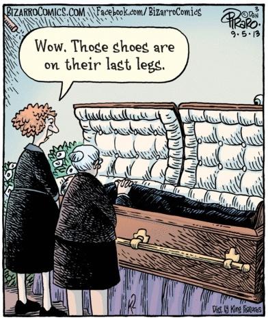 Bizarro Cartoon on shoes in caskets