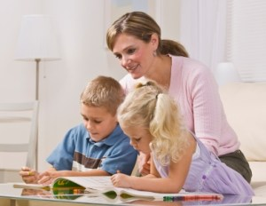 Children Journaling with Mom