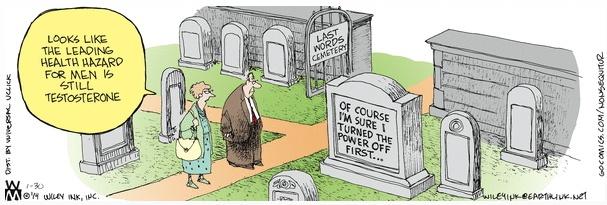 Non Sequitur testoserone last words cemetery