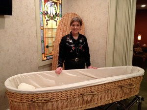 Gail with wicker basket casket