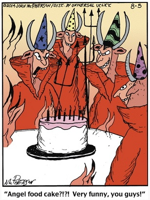 Close to Home Angel Food Cake in Hell Cartoon
