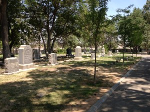 The historic section of Congregation Albert Cemetery is one of the few areas where upright markers are allowed.