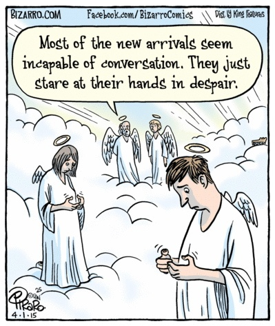 Bizarro texting angels
