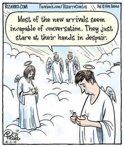 Bizarro texting angels
