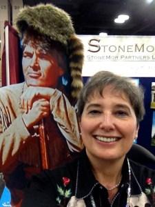 Gail Rubin does a selfie with a Davy Crockett cut-out