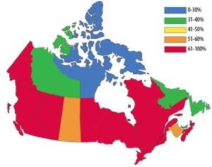 Canada Cremation Percentages 2014