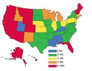 US Cremation Percentages 2014