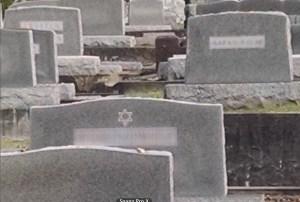 Jewish headstones blurred
