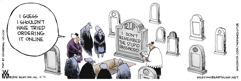Non Sequitur password headstone