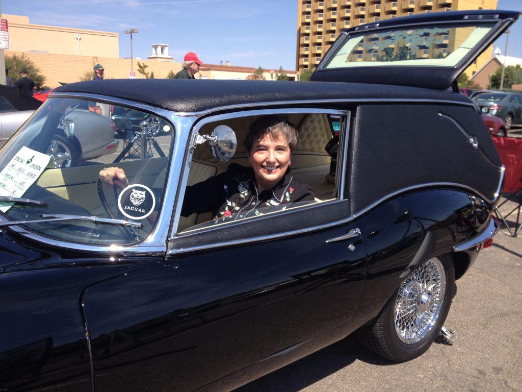 Gail in Jaguar Hearse