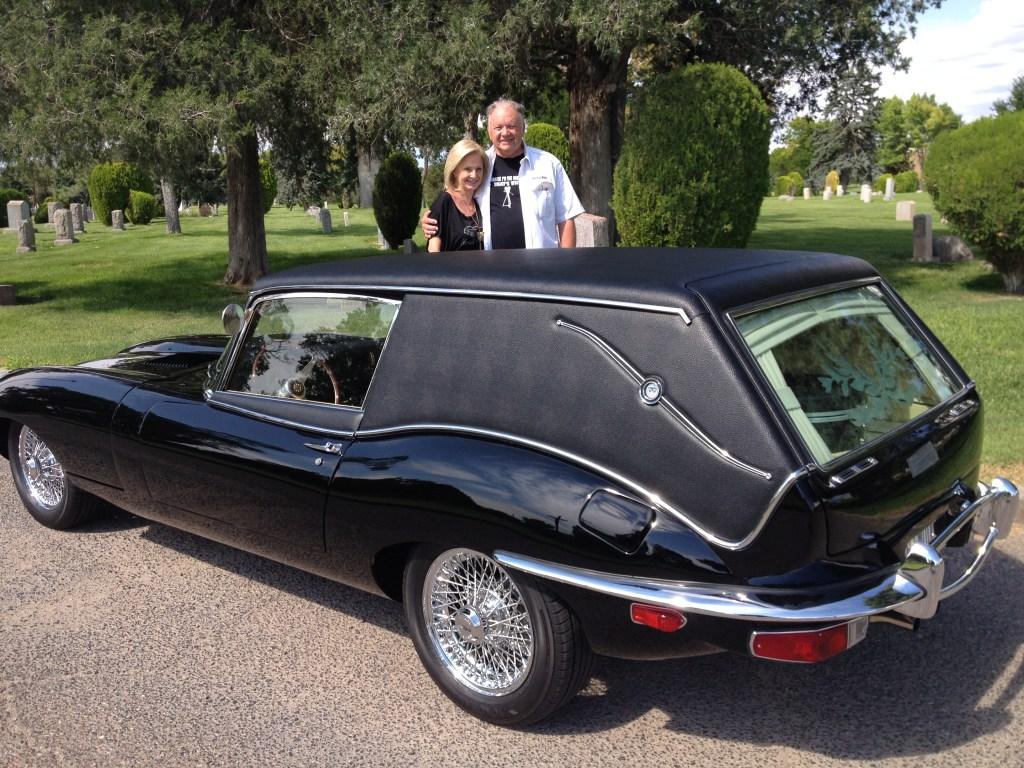 Ken and Glenda Roberts and the Jaguar hearse
