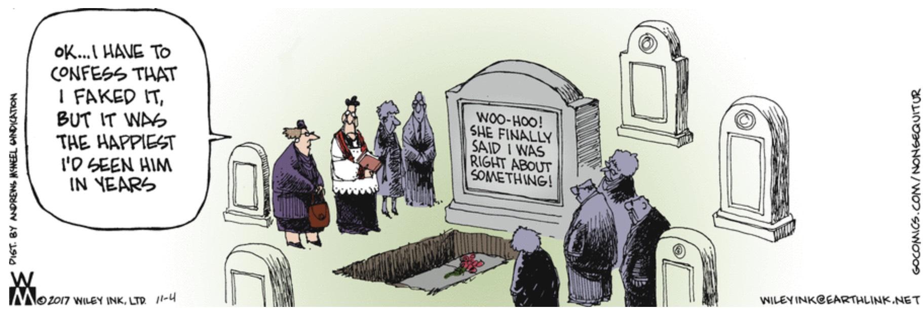 Non Sequitur cemetery headstone