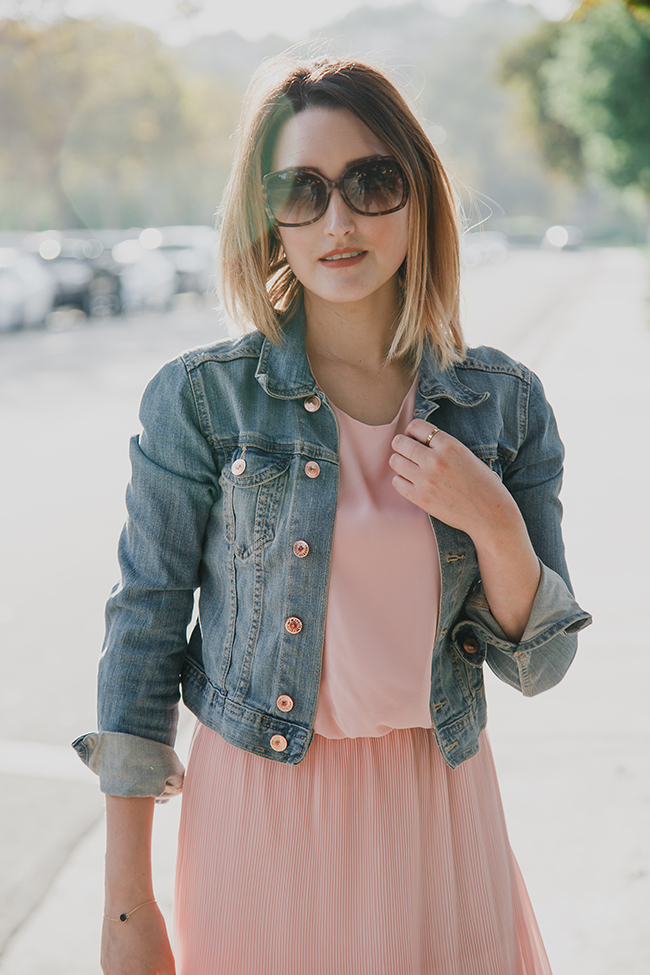 Outfit: Denim Jacket and Pink Dress