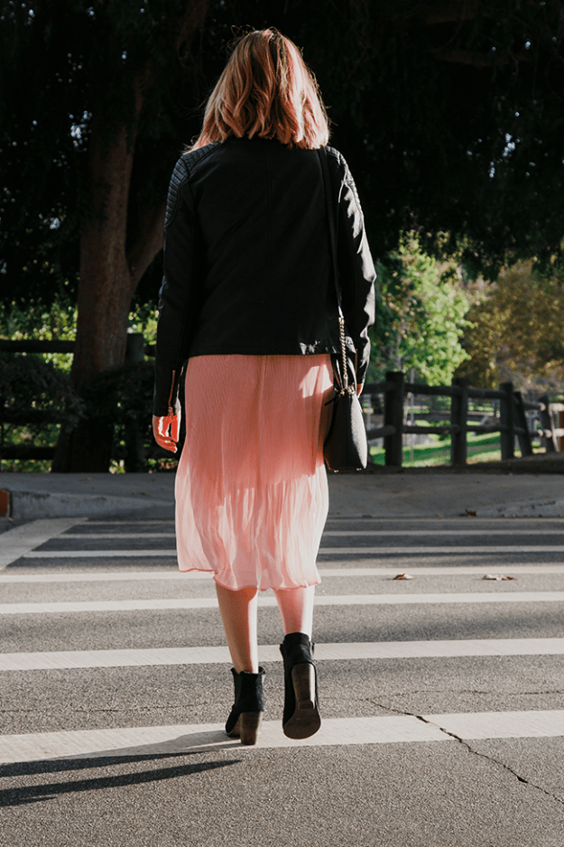 Fall Style: JustFab Pink Pleated Dress with Faux Leather Jacket