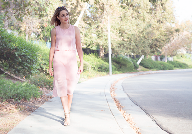 Wear It Now, Wear It Later: JustFab Pleated Dress