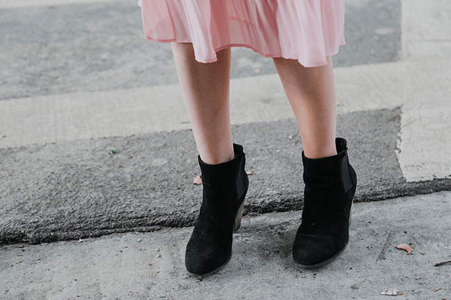 Fall Style: Sole Society Black Booties with Pleated Dress