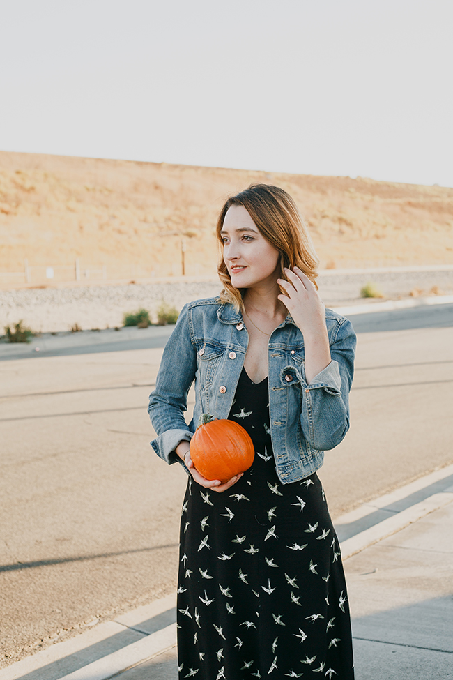 Fall Style: JustFab printed midi dress + denim jacket