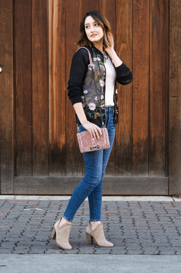 Affordable Casual Style: American Eagle Outfitters Jeans & JustFab Embroidered Floral Jacket | A Good Hue