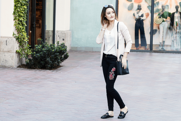 Blush Blazer and JustFab Embroidered Jeans Outfit | A Good Hue