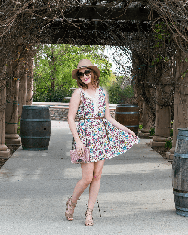 The perfect floral lace dress for wine tasting | A Good Hue