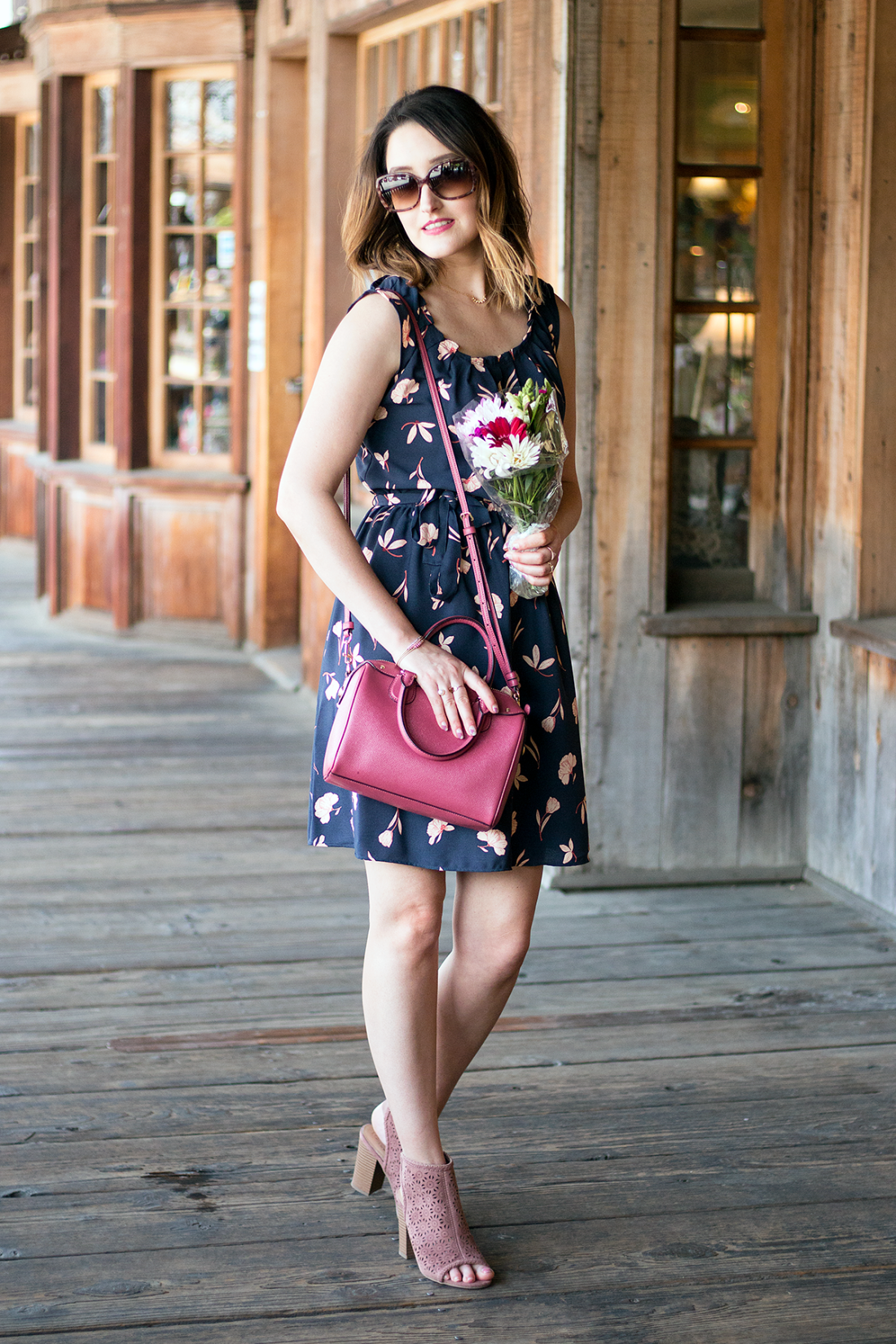Spring style on a budget: LC Lauren Conrad Floral Pleated Shift Dress | A Good Hue