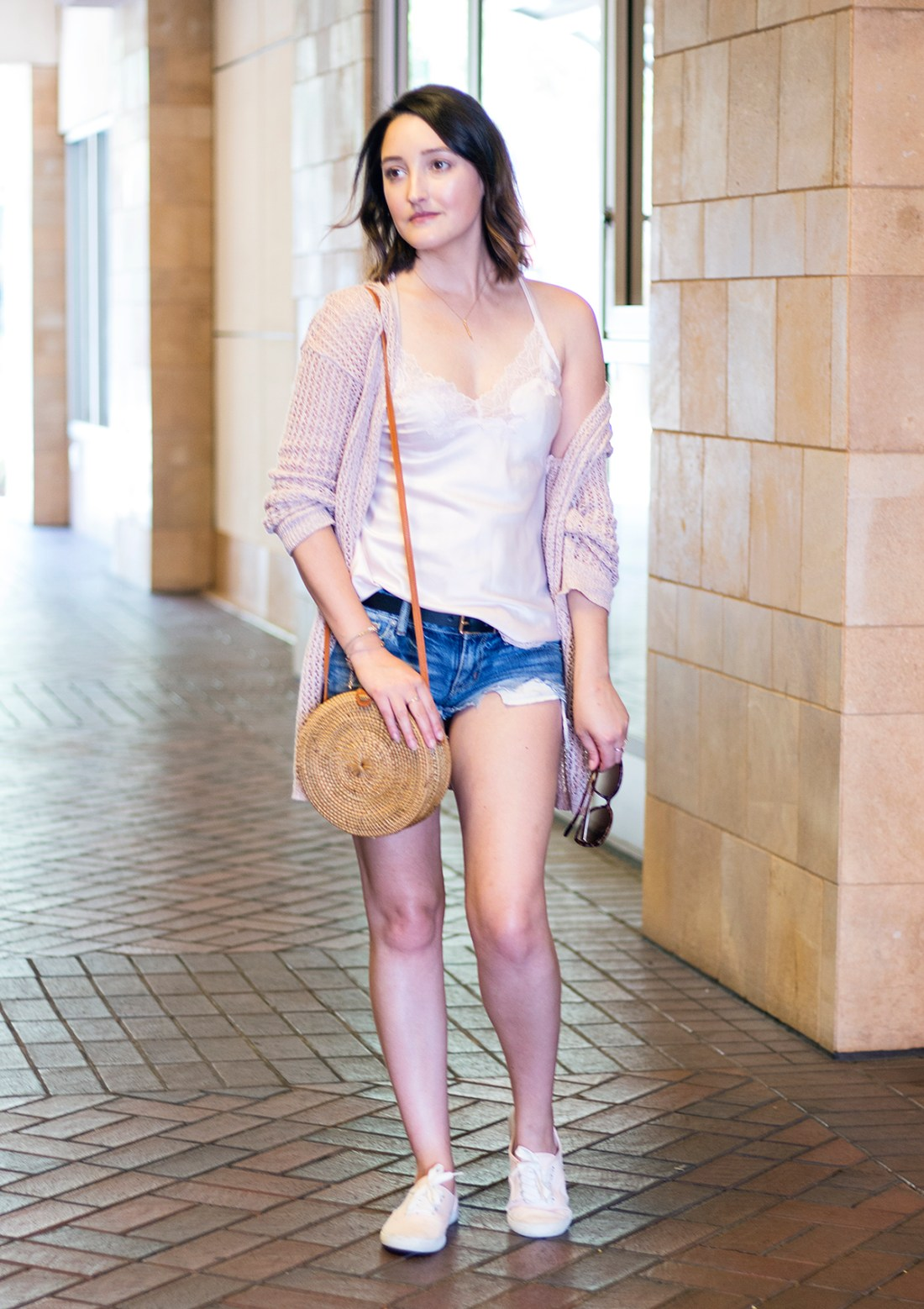 Blushing Combination: Silk Camisole + Blush Cardigan Affordable Outfit | A Good Hue