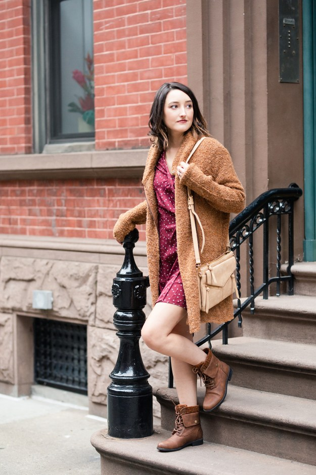 Fall Vibes with JustFab: Polka Dot Dress & Cozy Sweater | A Good Hue