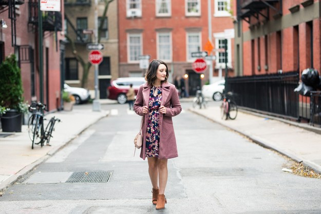 Cold-Weather Must-Have Coat & Floral Dress | A Good Hue