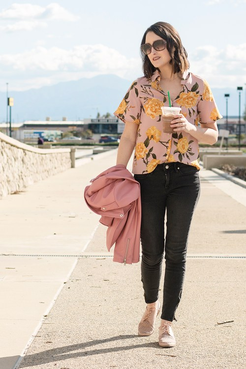 Outfit: Floral Flutter Sleeve Blouse