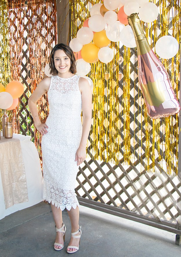 Rosé and Bubbly Bridal Shower- Champagne Balloon Photo Wall | A Good Hue