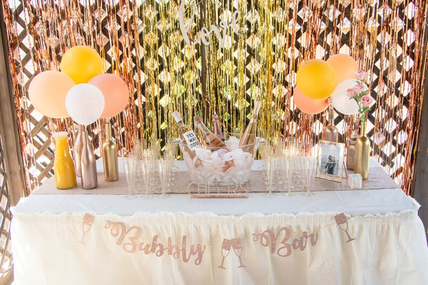 Rosé and Bubbly Bridal Shower: Champagne Bubbly Bar | A Good Hue