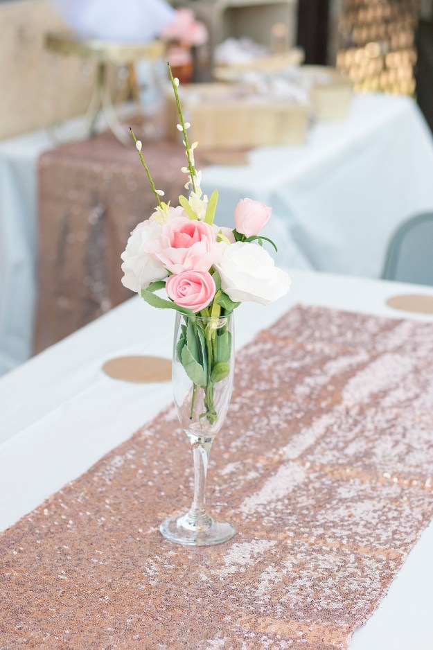Rosé and Bubbly Bridal Shower- Floral Centerpieces and Rose Gold Runners | A Good Hue