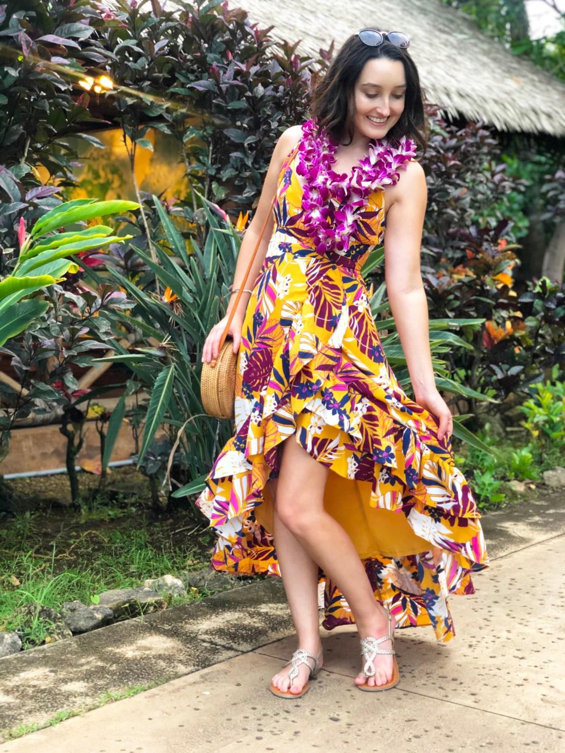 Lulu's Tropical Print Dress in Hawaii | A Good Hue