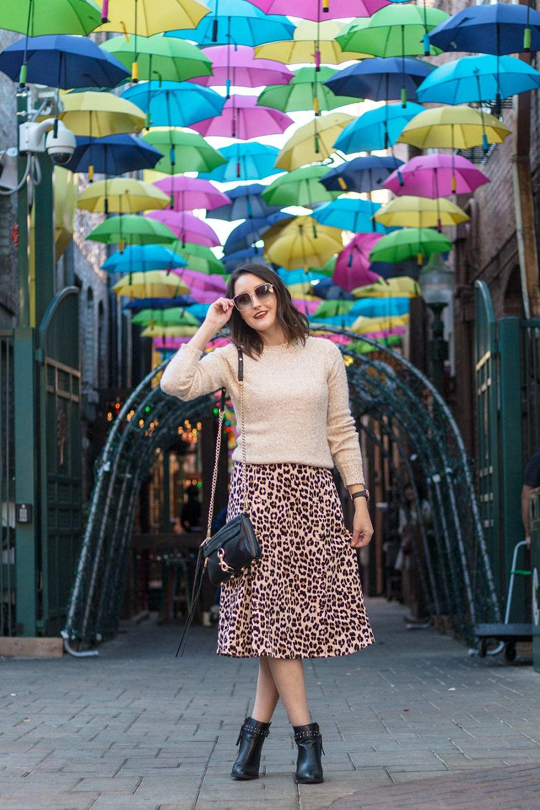 Leopard Print Skirt & Sequin Sweater | A Good Hue