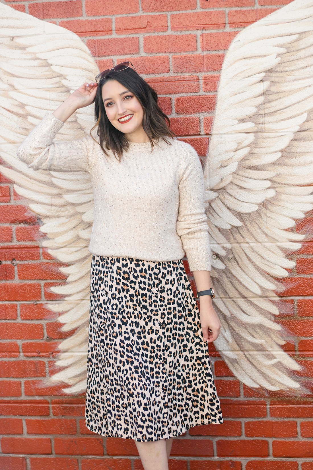 Holiday outfit: Sequins and leopard print | A Good Hue