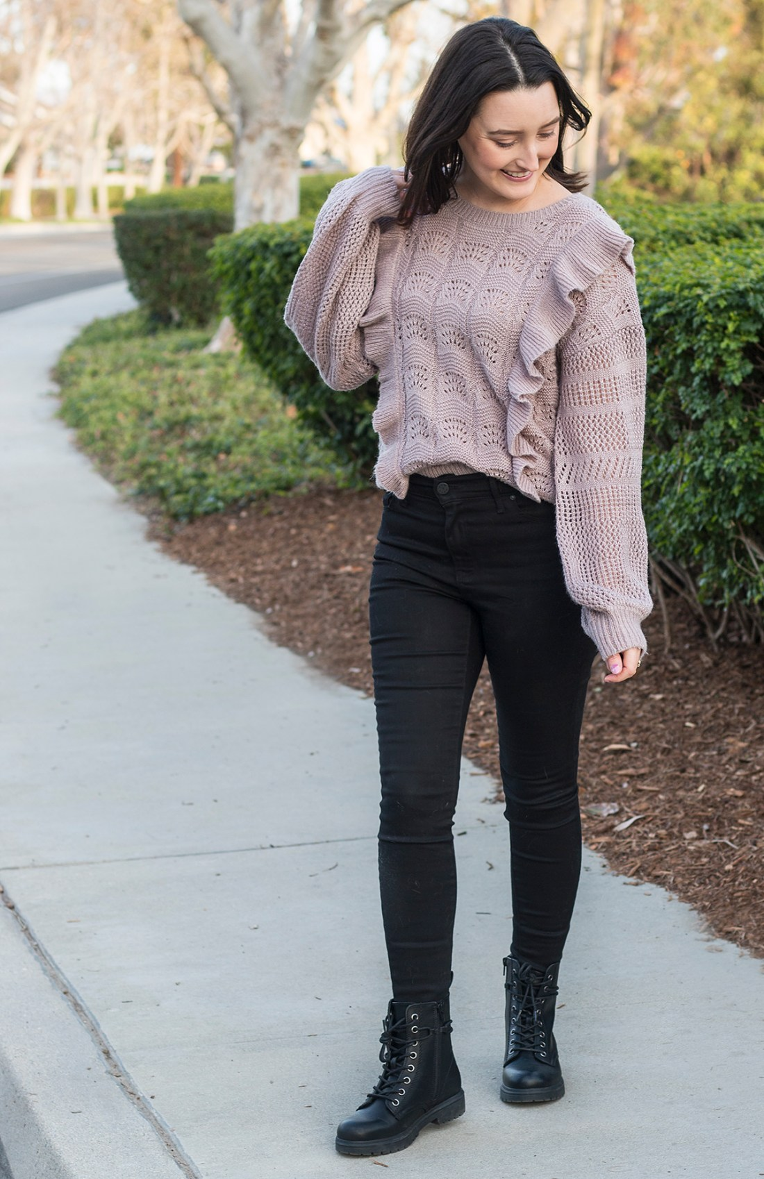 Winter Ruffled Sweater & Combat Boots | A Good Hue