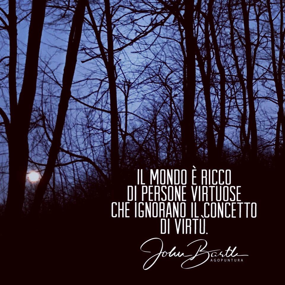 Il mondo è ricco di persone virtuose, che ignorano il concetto di virtù. John Barth agopuntura e Medicina Cinese