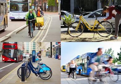 Mosaico de exemplos de mobilidade como serviço.