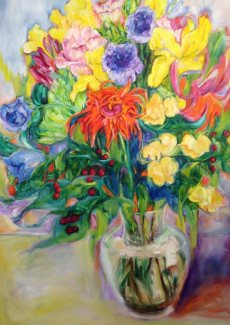 "Kathryn Friis, ""Happy Birthday"" 2015, oil on canvas, 48 x 30 inches"