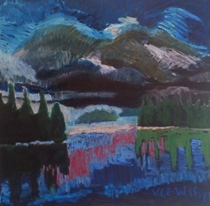 "Victoria Lewis, ""Island"" 2011, oil on board, 130 x 130cm."