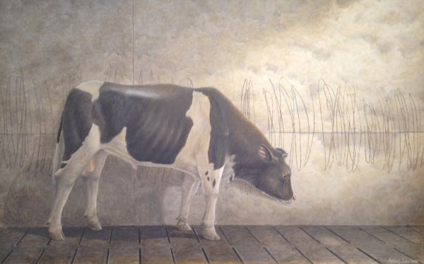 """""""Portrait of the Artist as a Young Bull"""" 2015 acrylic on masonite 29 x 43.5 inches"""