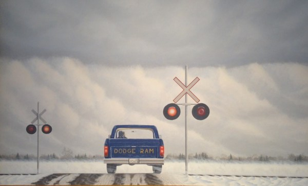 """Level Crossing"" 2009 acrylic on masonite 28.5 x 44 inches"